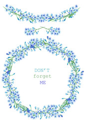 Frame border, garland and wreath of the blue forget-me-not flowers (Myosotis), painted in a watercolor on a white background, greeting card, decoration postcard or invitation
