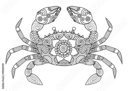 Volwassen Paarden Kleurplaten Quot Hand Drawn Zentangle Crab For Coloring Book For Adult