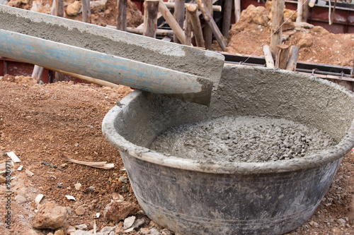 Mixed concrete pouring at construction site quot stock photo and royalty
