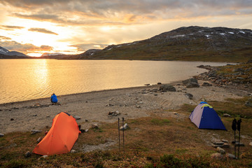 Campside Sunset on Mountain Lake in Lapland - Sweden