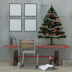 New year loft interior, Christmas tree, 3D render