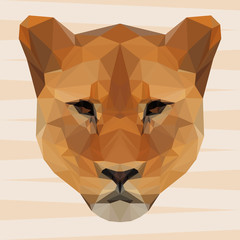 Abstract polygonal geometric triangle lion background for use in design