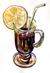 Mulled wine. Watercolor painting