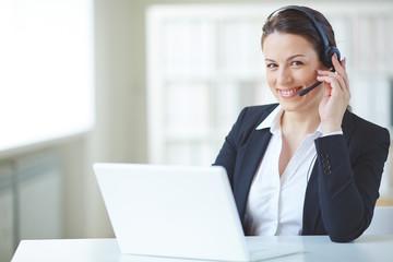 Happy receptionist