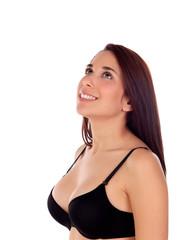 Pensive girl with black bra