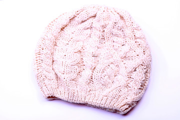 knitted hat on white background