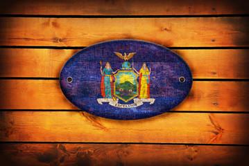 Wooden New York flag.