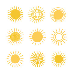 Different hand drawn suns
