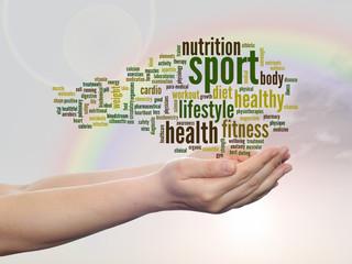 Conceptual health word cloud over rainbow