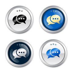 Messenger seal or icon with speech balloons symbol. Glossy silver seal or button.
