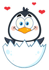 Happy Baby Penguin Cartoon Character Hatching From An Egg