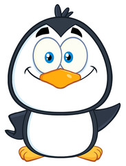 Smiling Cute Penguin Cartoon Character Waving