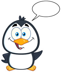 Cute Penguin Cartoon Character Waving With Speech Bubble