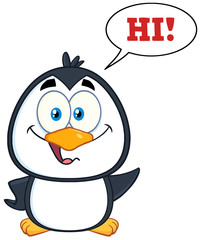 Smiling Cute Penguin Cartoon Character Waving With Speech Bubble