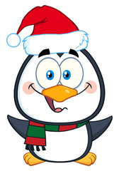 Christmas Penguin Cartoon Character With Open Wings