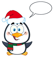 Penguin Cartoon Character With Open Wings And Speech Bubble
