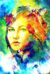 blue goddess woman eyes with birds on multicolor background eye contact, Woman face collage