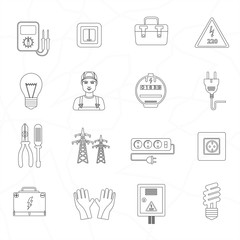 Electrician tools instruments flat thin line icons set