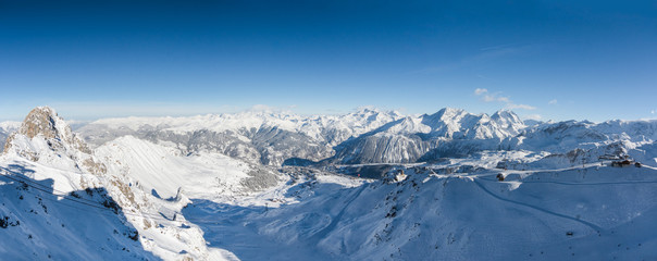 Gorgeous panorama of the ski slopes of Courchevel in the French Alps
