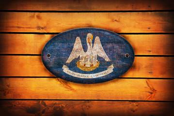 Wooden Louisiana flag.