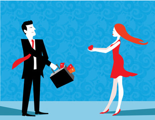 man and woman give gift each other in the valentine day.