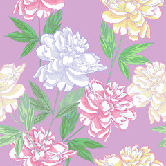 Green Seamless pattern  with peonies