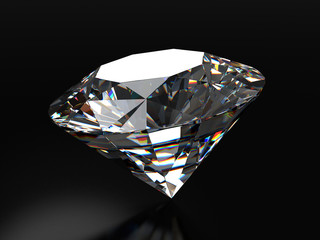 Realistic diamond placed on black background with soft reflection, 3d illustration.
