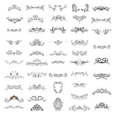 decorative elements in vintage style for decoration layout, framing, for text for advertising, vector illustration hands