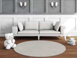 Living room interior with sofa, toy and books