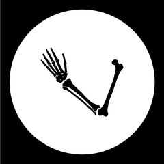 one human hand from bones black icon eps10