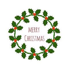 Vector Christmas wreath with holly