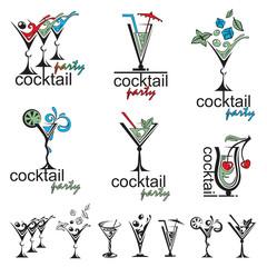 set of different color cocktail glasses