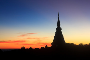 silhouette pagoda in Doi Inthanon national park of Thailand.