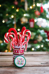 Christmas candy canes on wooden background