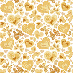 Seamless valentine pattern with colorful vintage sepia butterflies, flowers and hearts on white background. Vector illustration