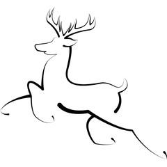 Reindeer Buck Minimal Logo Drawing