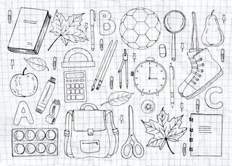 Hand drawn school symbols
