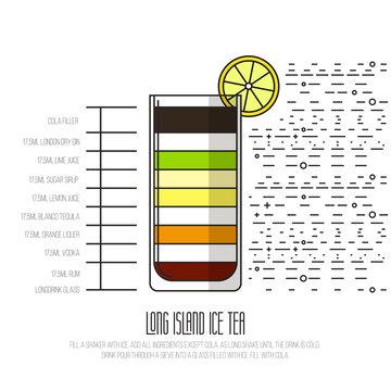 Long Island Tea - Thin Flat Line Style Coctail Recipe