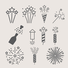 pyrotechnic icon set . Vector illustration