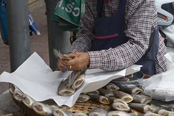 Mercado de Bangkok, pescado