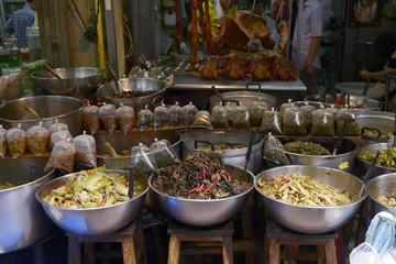 Mercado de Bangkok, comida preparada