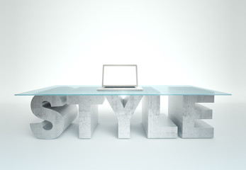 Open laptop on empty glass table with a base made of concrete STYLE. Business concept