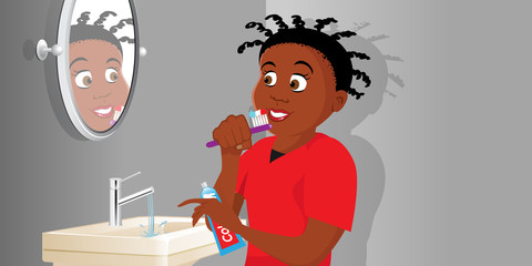 cartoon vector illustration of a girl brushing teeth