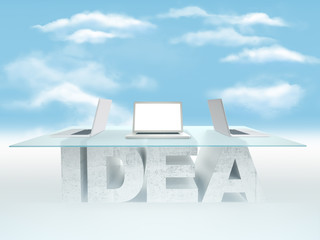 Open laptop on empty glass table with a base made of concrete IDEA against the sky background. Business concept