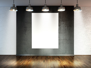 Room with  spotlight lamps, empty  space with wooden flooring and brick wall as background or backdrop for product placement. 3d rendering interior