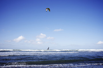 On a beautiful blue sky day a male kitesurfer jumps the wave on his board in Cardiff-by-the-sea, CA.