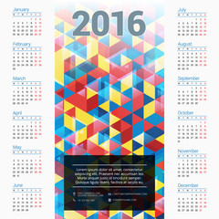 Vector Design Print Template with Abstract Background. Calendar for 2016 Year. Week Starts Monday