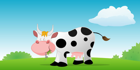 cartoon vector illustration of a cow eating