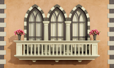 Old facade with classic balcony balustrade