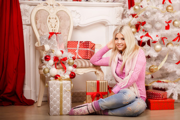 Christmas girl at new year tree